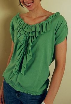Brassy Apple: Ruffle me up!......tshirt refashion Spring Top challenge #3
