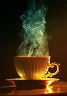 """We are all mad here."" The cheshire cat in a cup of coffee. Simply maddening."