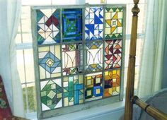 Quilt block stain glass window
