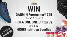 Win a NEW Garmin Forerunner 745 for you PLUS ten pairs of HOKA ONE ONE Clifton 7s and ten HIGH5 nutrition bundles for your running club. A running watch with GPS, HRM, contactless payment and music plus running shoes and running nutrition for your running crew. Everything for marathon, half marathon, 10k, 5k, parkrun, ultramarathon. Best Running Gear, Running Club, Running Watch, Best Running Shoes, Running Singlet, Charity Run, Ultra Marathon, Marathon Running, Fitness Tracker