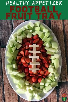 Easy football fruit tray for a healthy appetizer for the big game Looking for healthy Super Bowl ideas or lighter party snacks? A football fruit tray works as an appetizer or dessert idea for the big game. Super Bowl Party, Super Bowl Dessert Ideas, Super Bowl Deserts, Football Party Foods, Football Food, Football Birthday, Superbowl Party Food Ideas, Football Desserts, Football Treats