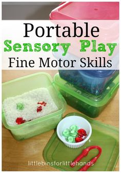 Portable Mini Sensory Bins Fine Motor Skills Play Try simple sensory play to encourage fine motor skills! Use hands-on play techniques like these sensory bins to encourage both strength of hand muscles as well sensory discrimination in the hands. Supplies Needed: Small bins with good fitting lids. (these are from the dollar store) Sensory...Read More »
