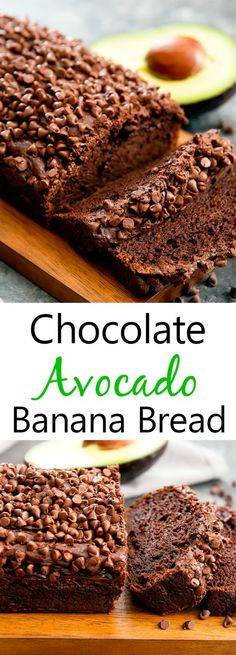 This chocolate avocado banana bread doesn't use oil or butter. Instead, avocado replaces the oil, creating a rich, moist chocolate banana bread. Avocado Banana Bread, Avocado Hummus, Avocado Toast, Avocado Salad, Keto Avocado, Egg Salad, Avocado Egg, Avocado Food, Avacado Desserts