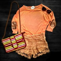 We're loving this new lightweight shirt with sequin elbow detailing available in coral, mint & white at 4th! $24.99, lace shorts $28.99, colorful clutch $34.99, sunnies $9.99! Shop in store or call 407.878.6656 to order