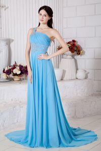 Beading One Shoulder Sky Blue Evening Formal Gowns Brush Train