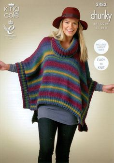 Loving this for lazy comfy days! Knitting pattern by King Cole knit in Riot Chunky Poncho - the link took me to the web's home page, not to the poncho, but it looks simple enough to make. Snood Knitting Pattern, Chunky Knitting Patterns, Knitted Poncho, Crochet Shawl, Knit Patterns, Clothing Patterns, Knit Crochet, Easy Knitting, Ladies Poncho