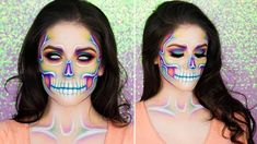 Looking for for inspiration for your Halloween make-up? Browse around this site for cute Halloween makeup looks. Meme Costume, Costume Ideas, Maquillage Halloween Simple, Maquillaje Halloween, Halloween Eyeshadow, Creepy Halloween Makeup, Halloween Skull, Pretty Halloween, Vintage Halloween