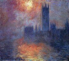 Reproduction de Monet, La maison du parlement. Tableau peint à la main dans nos ateliers. Peinture à l'huile sur toile.
