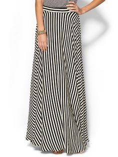 Milly Black/White Stripe Maxi Skirt http://www.saltstyleblog.com