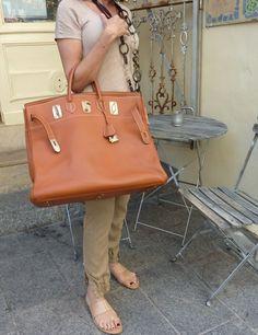 Hermes Birkin bag in caramel color