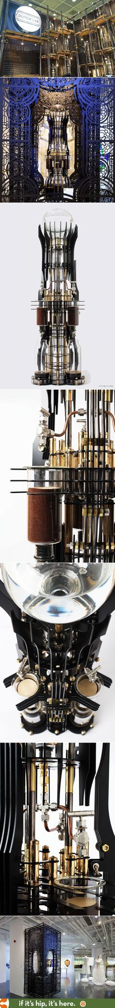 The AKMA, the newest Steampunk-inspired 3000ml cold brew drip coffee machine by Dutch Lab. Displayed in suspended metal laser cut steampunk cage.