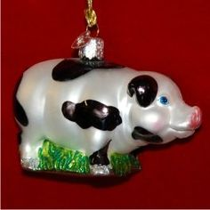 Black and White Pig - Personalized Girl Ornament