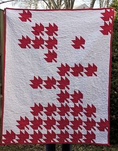 Maple Leaf Quilt by Melissa Bonier. I forgot to take a picture of the backing, but it was a great red and white polka dot from Capital Quilts. Flag Quilt, Patch Quilt, Quilt Blocks, Quilting Projects, Quilting Designs, Quilting Tips, Sewing Projects, Canadian Quilts, Quilts Canada