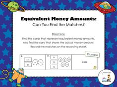Day 25 Freebie - Equivalent Money Amounts (students will match the two picture cards to the correct amount card; recording sheet and answer key included)