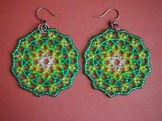 spring greens mandala beadwork earrings. lacy peyote seed bead