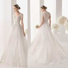 2015 Best Selling Lace Wedding Dressees Vintage A-line Deep V-neck Wedding Gowns Capped Covered Buttons Sweep Train Bridal Dresses from Gonewithwind,$314.14 | DHgate.com