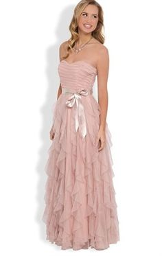 Strapless Long Prom Dress with Ruched Bodice and Tendril Skirt, love this