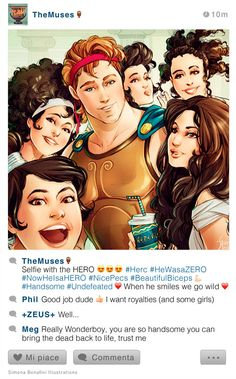 Selfie Fables Hercules and the muses by SimonaBonafiniDA Disney Pixar, Disney Au, Disney Hercules, Disney Jokes, Funny Disney Memes, Arte Disney, Disney Fan Art, Disney Animation, Disney Cartoons