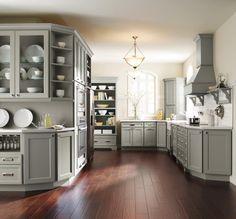 [ Gray Kitchen Cabinets Homecrest Cabinetry ] - Best Free Home Design Idea & Inspiration Grey Kitchen Cabinets, Painting Kitchen Cabinets, Farmhouse Cabinets, Maple Cabinets, Kitchen Island, Grey Kitchens, Home Kitchens, Homecrest Cabinets, Kitchen Cabinet Inspiration