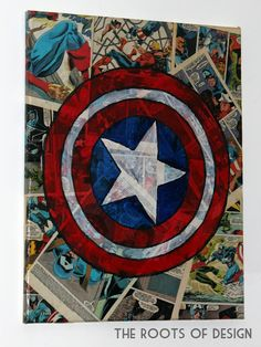 Captain America comic book art - would be awesome to do one for each superhero for a big boy room