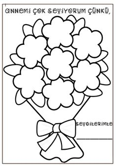 Each flower in the bouquet will be written about the reasons for loving their mother. Diy And Crafts, Crafts For Kids, Arts And Crafts, Flower Crafts, Coloring Pages, Bouquet, Bullet Journal, Stamp, Bows