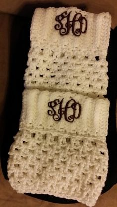 Crochet, monogrammed boot cuffs. Hot Christmas gifts!