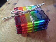 Rainbow Coasters, Rainbow Gift, Fused Glass Coasters,Fused Glass Gift, Pride gift,Rainbow Glass, House Warming Gift - pinned by pin4etsy.com