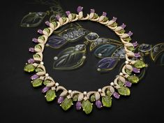 Bulgari Four Seasons High Jewelry Mini-Collection Spring. High Jewelry necklace in pink gold with mint tourmalines, peridots, amethyst, roun...