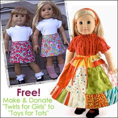 """Make Twirls for Girls (doll skirts)  for """"Toys for Tots!"""" (free PDF pattern from You Can Make This.com)"""