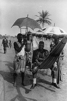 King Zodehuga on a journey, Dahomey (now Benin), French West Africa, 1936