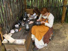 Lofotr Viking museum. Jana Kruse working in pottery workshop