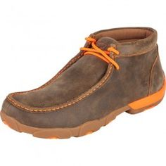 Twisted X Men's Driving Moc Brown Bomber Distressed Leather with Neon Orange Accents and Laces