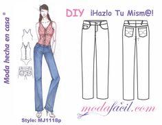 Descarga gratis los patrones del pantalón de Mezclilla para Mujeres, Tipo jean, disponible en 12 tallas Listas para Poner sobre la tela y cortar