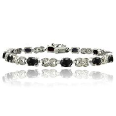 Latest Obsession:  Silver Sapphire &... Shop Now! http://www.shopelettra.com/products/silver-sapphire-diamond-accent-oval-bracelet?utm_campaign=social_autopilot&utm_source=pin&utm_medium=pin