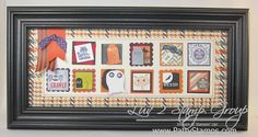 Halloween Framed art home decor featuring Stampin' Up! punches and craft supplies Halloween Frames, Halloween Cards, Halloween Decorations, Framed Scrapbook Paper, My Scrapbook, Collage Background, Photo Wall Collage, Collage Frames, 3d Frames