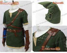 The legend of zelda twilight princess green link cosplay costume