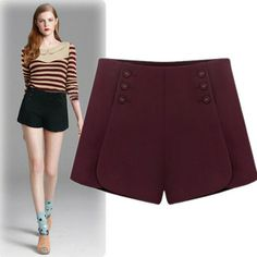 Fashion Solid Color Button Slim Wool Shorts