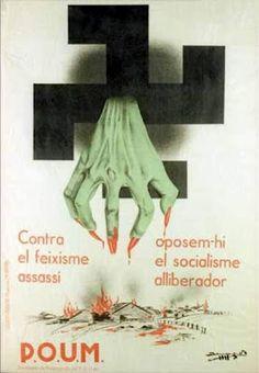 Spain - 1936. - GC - poster - Manifesto contro i crimini nazi-fascisti franchisti del POUM ( Partito Operaio di Unificazione Marxista ).