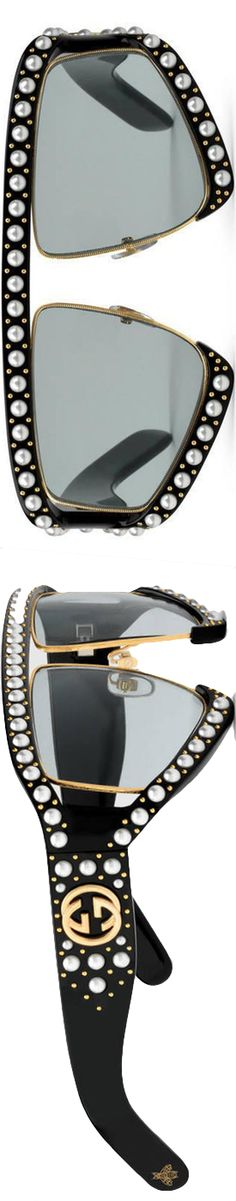 c3160b1d4f433 Gucci Black Rectangular-frame Acetate Sunglasses With Pearl