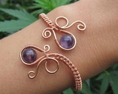 GoodVibes by TheGemstoneGoddess Amethyst Copper Wire Double Loop Spiral Bracelet- Purple Crystal Beaded Wire Wrapped Coil Cuff- Handmade Gemstone Peacock Wedding Jewelry Copper Wire Jewelry, Wire Jewelry Designs, Jewelry Crafts, Beaded Jewelry, Handmade Jewelry, Copper Cuff, Earrings Handmade, Silver Jewelry, Jewelry Tree
