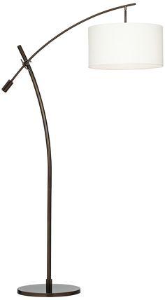 Bronze Boom Arc Floor Lamp with Linen Shade | LampsPlus.com