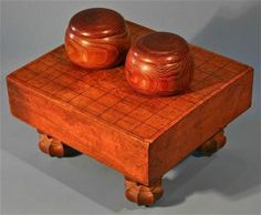 Antique Japanese Go Board Game Set With wooden bowls & stones