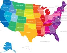 United States Map Colorful USA US America Art Print - Us map with famous landmarks