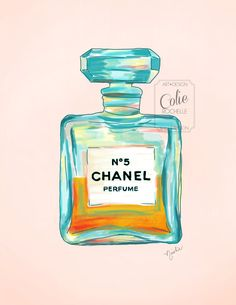 CHANEL Illustration Perfume Bottle Vintage Retro Chic Style Fashion Girly Feminine Print of original painting/drawing Turquoise Orange Peach on Etsy, $15.00