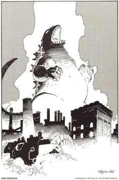 Mike Mignola's Godzilla print from Dark Horse Comics' The Godzilla Portfolio #1