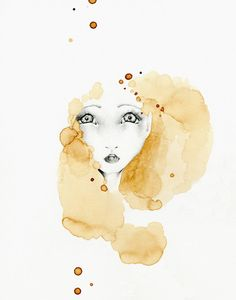 Abstract Painting Fantasy Giclee Print of my original Abstract Coffee Painting ~    Shes called No Words after spending a long while