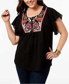 65fd3ccbb28 Style   Co Plus Size Cotton Gauze Embroidered Peasant Top Peasant Tops