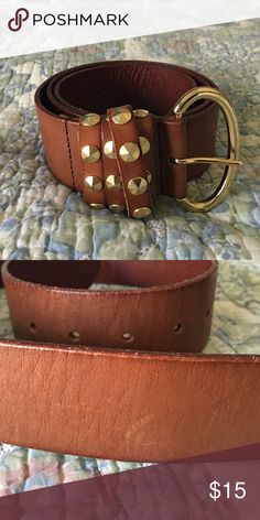"""Linea Pelle Studded Leather Belt Amazing quality whiskey colored leather belt with studs on the buckle area. Light wear on the belt as pictured. Size medium. 32 1/2"""" at tightest setting and 37"""" at loosest. Linea Pelle Accessories Belts"""