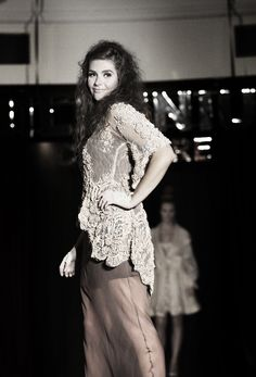 Hillenius Couture Taupe Chiffon Evening Dress Fashion Catwalk Runway Amsterdam Embroidered Lace