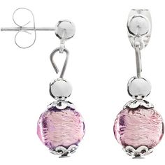 Martick Murano Glass Drop Earrings , Silver/Plum (2.115 RUB) ❤ liked on Polyvore featuring jewelry, earrings, earring jewelry, murano glass jewelry, metallic jewelry, murano glass earrings and silver drop earrings
